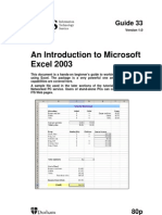 An Introduction to Excel 2003