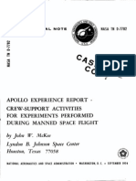 Apollo Experience Report Crew-Support Activities for Experiments Performed During Manned Space Flight