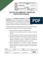 PLT-SST-005 Política de Elementos y Equipos de Proteción Personal