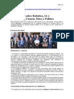 Conferencia Robótica, IA y Humanidad, Ciencia, Ética y Política (2019)