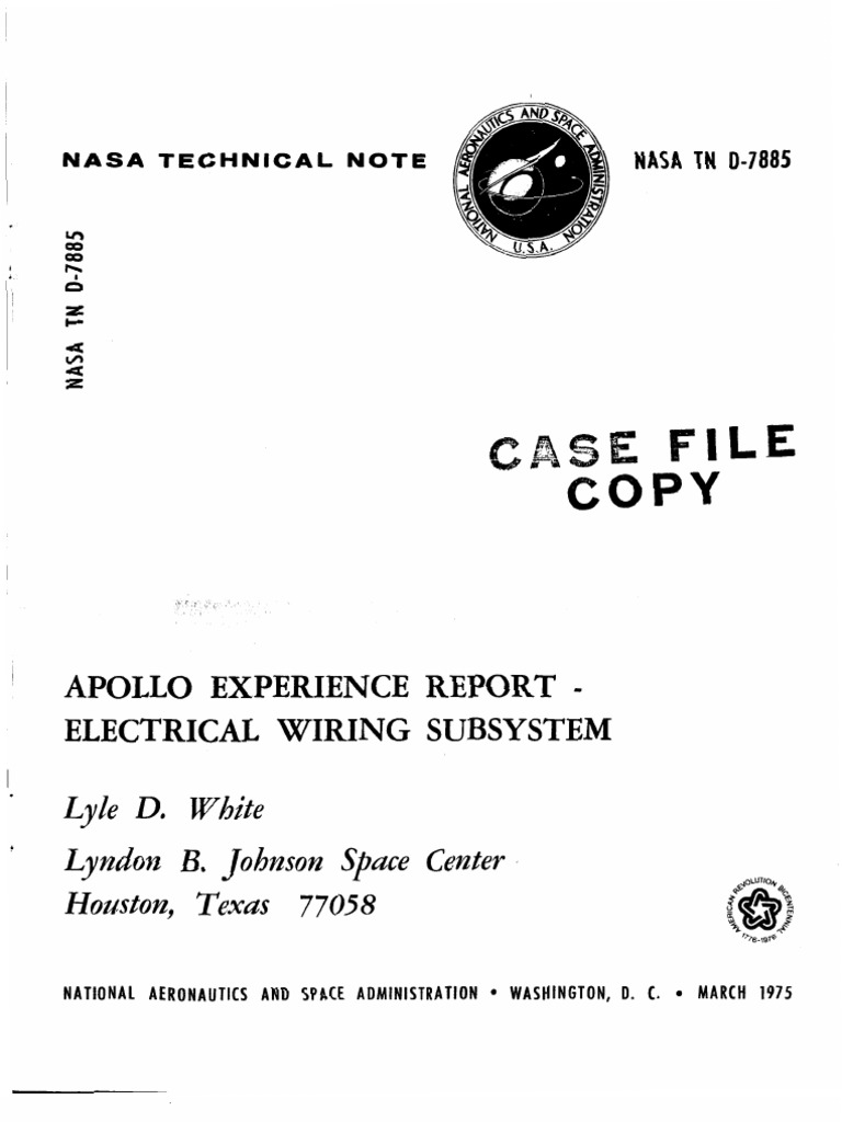 Apollo Experience Report Electrical Wiring Subsystem | Apollo ...