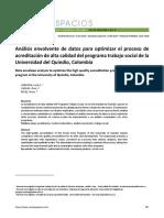 Análisis envolvente de datos para optimizar el proceso de acreditación de alta calidad del programa trabajo social de la Universidad del Quindío, Colombia
