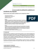 Análisis factorial de una escala de satisfacción académica en estudiantes de postgrado