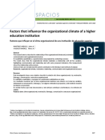 Factors that influence the organizational climate of a higher education institution