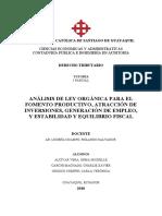 ANALISIS DE LA LEY DE FOMENTO PRODUCTIVO