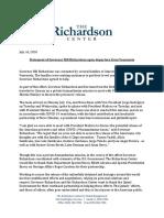 Governor Richardson Departing Venezuela Statement 7-16-20