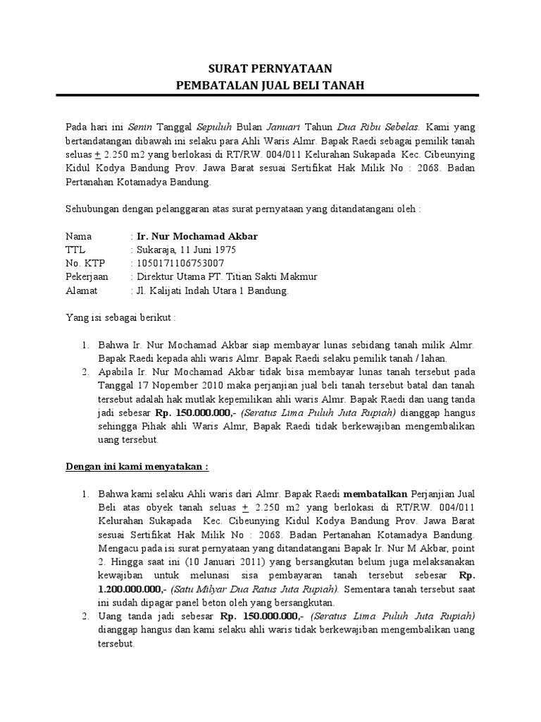 Contoh Surat Pernyataan Jual Beli Perusahaan
