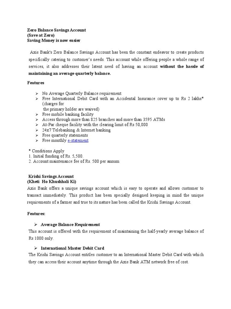 Axix Bank Accounts | Cheque | Banks
