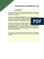 7) Plantilla de presupuesto del rediseño de la página web