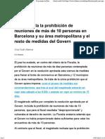El juez avala la prohibición de reuniones de más de 10 personas en Barcelona y su área metropolitana y el resto de medidas del Govern