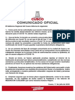 Gobernador del Cusco, Jean Paul Benavente, dio positivo para covid-19