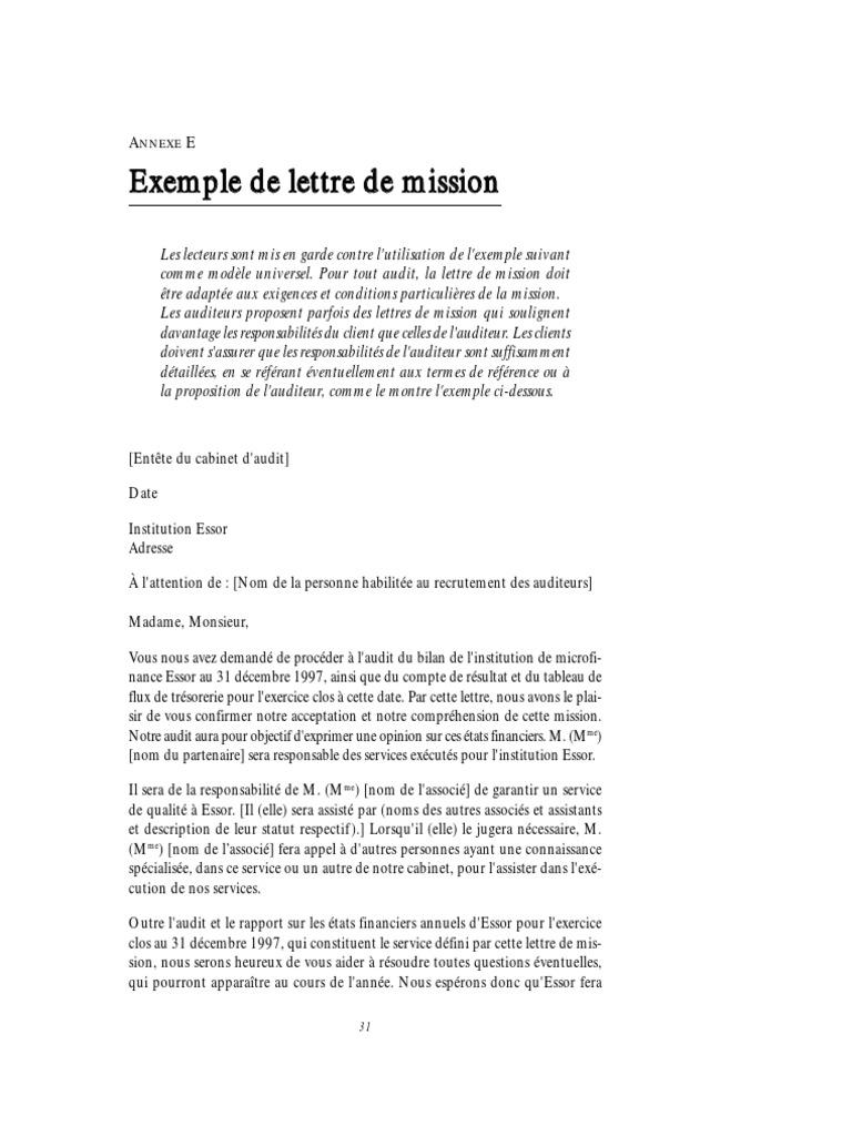 lettre de résiliation de mission comptable Lettre de Mission d'Audit lettre de résiliation de mission comptable
