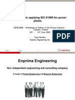 Experience in Applying IEC61508 for Power Plant