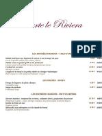 Carte Du Restaurant Le Riviera 2020