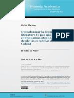 Dubin, M. (2014).  Descolonizar la lengua y la literatura. Dubin