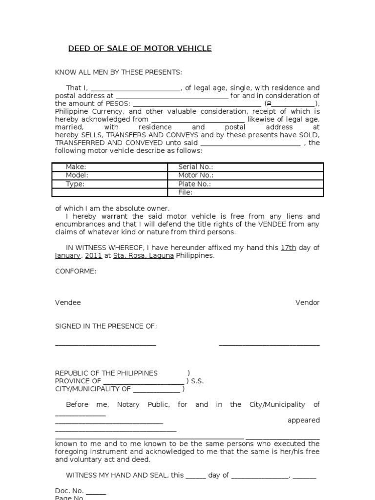 blank deed of sale of motor vehicle template