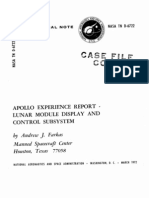 Apollo Experience Report Lunar Module Display and Control Subsystem