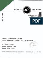 Apollo Experience Report Lunar Module Landing Gear Subsystem