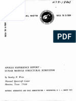 Apollo Experience Report Lunar Module Structural Subsystem