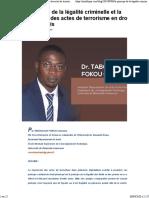 Le principe de la légalité criminelle et la répression des actes de terrorisme en droit camerounais _ JuriAfrique