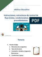 Instrucciones, estructuras de control de flujo (ciclos, condicionales), variables