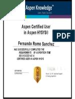 Certificado Aspen Tech Hysys