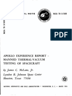 Apollo Experience Report Manned Thermal-Vacuum Testing of Spacecraft