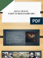 RIZAL TRAVEL paris to berlin 1885-1887