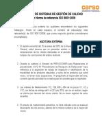 AUDITORIAS DE SISTEMAS DE GESTIÓN DE CALIDAD