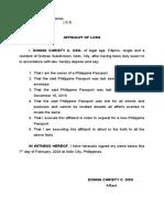 Affidavit of Loss Donna