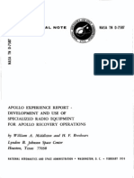 Apollo Experience Report Development and Use of Specialized Radio Equipment for Apollo Recovery Operations
