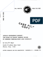 Apollo Experience Report the Role of Flight Mission Rules in Mission Preparation and Conduct
