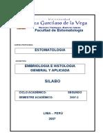 II SILABO EMBRIOLOGICA GRAL  APLICADA