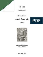 SATIE, Érik • Airs à faire fuir (edited by Gérard Reyne) (2 guitars music score)