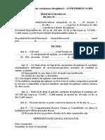 Model decizie sanctionare disciplinara - Avertisment scris