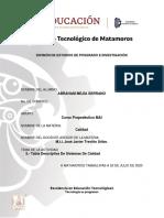 TABLA DESCRIPTIVA DE  SISTEMAS DE CALIDAD- Abraham Mejia Serrano