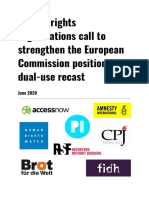Joint Letter to Commission on Dual Use Recast June 2020