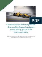Comprobacion de la suspension de un vehiculo con los ajustes necesarios y garantia de funcionamiento