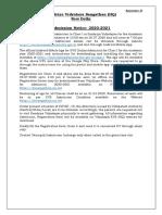KVS Admission Notice 2020-2021