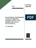 Norma COVENIN 2268-1996. Plaguicidas. Transporte, almacenamiento, Medidas de Salud Ocupacional