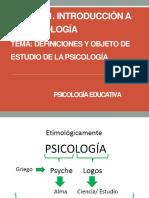 TEMA. DEFINICIONES Y OBJETO DE ESTUDIO DE LA PSICOLOGÍA