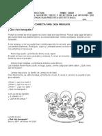 EVALUACIÓN DE COMPRENSIÓN LECTORA  PRIMER GRADO  JUNIO   QUE RICO BANQUETE