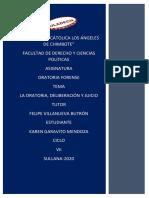 LA ORATORIA, DELIBERACIÓN Y JUICIO