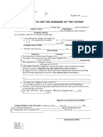 Affidavit to use the surname of the father CIVIL REGISTRY FORM