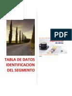 EVIDENCIA 5.  TABLA DE DATOS IDENTIFICACION DEL SEGMENTO