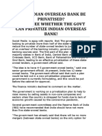 Will Indian Overseas Bank Be Privatised
