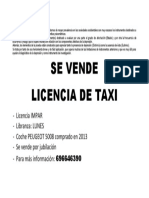 Se vende licencia de taxi2