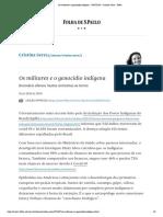 Os militares e o genocídio indígena - 20_07_2020 - Cristina Serra - Folha