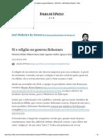 Fé e religião no governo Bolsonaro - 20_07_2020 - Joel Pinheiro da Fonseca - Folha