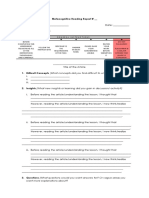 Metacognitive Reading Report Template